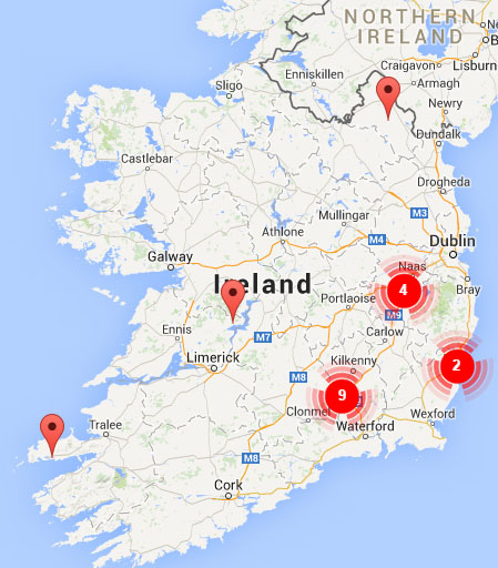 Map of all the Camphill Communities in Ireland
